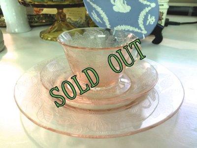 画像2: sold マクベスエバンズ ピンクディプレッショングラス ドッグウッド トリオ 1930-1934年 その1
