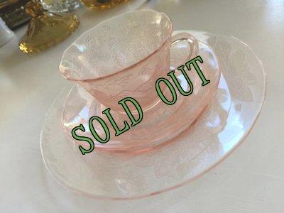 画像1: sold マクベスエバンズ ピンクディプレッショングラス ドッグウッド トリオ 1930-1934年 その1
