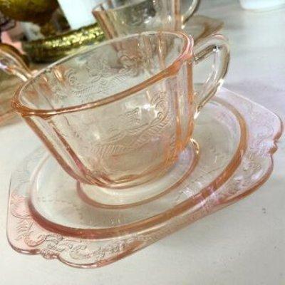 画像1: インディアナグラス マドリッド ピンク  カップ&ソーサー