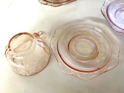 画像2: インディアナグラス マドリッド ピンク  カップ&ソーサー