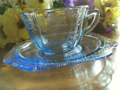 画像1: インディアナグラス マドリッド ブルー カップ&ソーサー