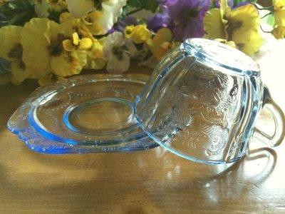 画像3: インディアナグラス マドリッド ブルー カップ&ソーサー