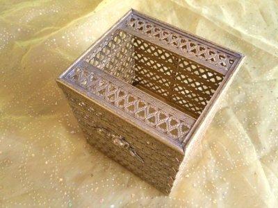 画像3: ビンテージ・ゴールドメタル・フィリグリー ティッシュボックス・カバー
