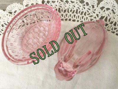 画像2: sold Indiana Glass, Bunny / Rabbit on a Nest Candy Dish, Pink