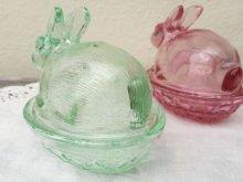 他の写真1: sold Indiana Glass, Bunny / Rabbit on a Nest Candy Dish, Pink