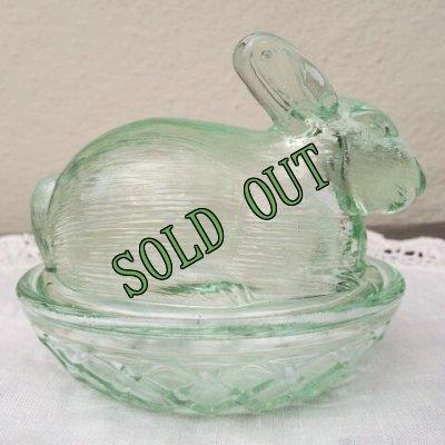 画像2: sold インディアナグラス バニー/ラビット/うさぎ ネスト・ディッシュ グリーン