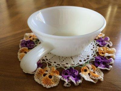 画像3: アンカーホッキング ミルクグラス フレンチ(ワンハンドル)キャセロール フレアバイトあり