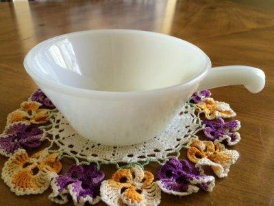 画像1: ファイヤーキング ミルクグラス フレンチ(ワンハンドル)キャセロール その2