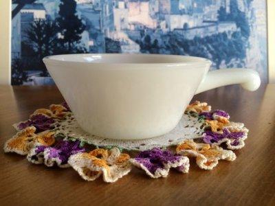 画像2: アンカーホッキング ミルクグラス フレンチ(ワンハンドル)キャセロール フレアバイトあり