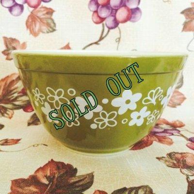 画像1: sold パイレックス ミルクグラス スプリングブロッサムクレイジーデイジー ミキシングボウル(小)750ml