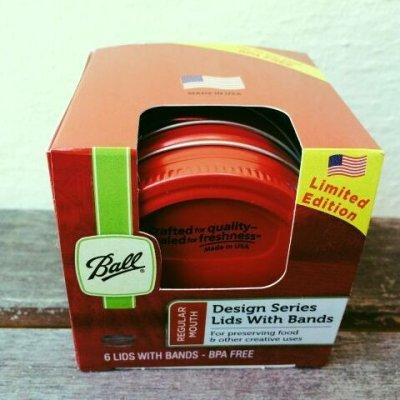 画像1: 新品箱入 ボール・メイソンジャー レギュラーマウス用フタ(パッキンつき)レッド ×6個セット