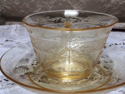 画像3: マクベスエバンズ イエローディプレッショングラス スティップルドローズバン カップ&ソーサー 1930-1933年