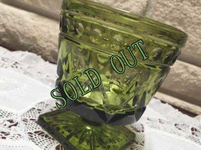 画像1: sold インディアナ・グラス グリーン・ゴブレット