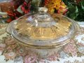 Fire King, Georges Briard Gold Spattered Covered Casserole  2QT