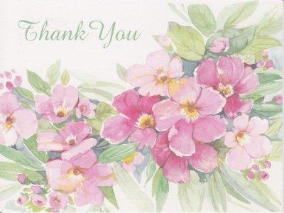 画像1: Vintage Thank You Card, Pink Flowers, made in USA
