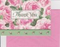 Vintage Thank You Card, Pink Rose, made in USA