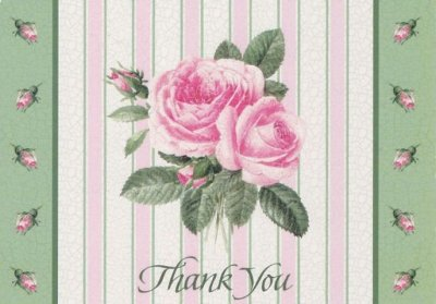 画像2: Vintage Thank You Card, Pink Rose, made in USA