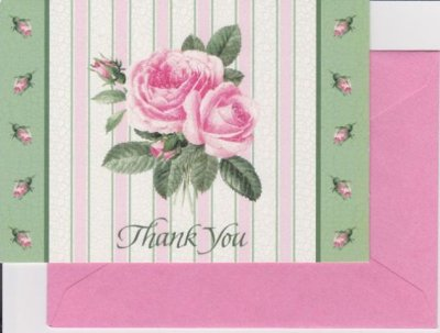 画像1: Vintage Thank You Card, Pink Rose, made in USA