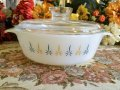 Fire King, Milk Glass, Candleglow, Round Casserole with Glass Cover 1QT