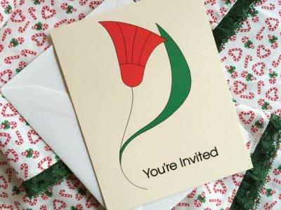 画像1: 未使用 1989年クリスマス・インビテーションカード(白封筒つき) アメリカ製