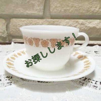 画像1: 茅ヶ崎 バタフライゴールド コーニング・ミルクグラス・カップ&コレール・ソーサー