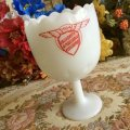Milk Glass Goblet,1964 California Ambulance Association