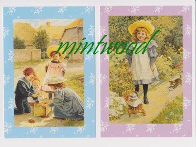画像1: 新品 ビンテージ・カード2枚組(白封筒つき) キッズ/少女と子猫 アメリカ製