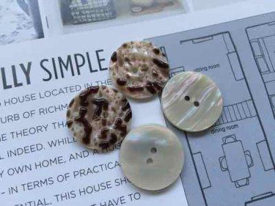 画像2: NEW Vintage Button Marble 4pc