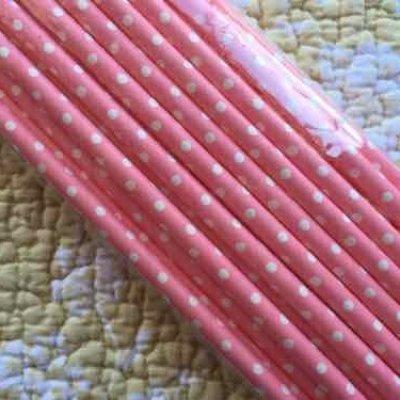 画像3: ペーパー・ストロー 新品未開封 ピンクの水玉 2ダース