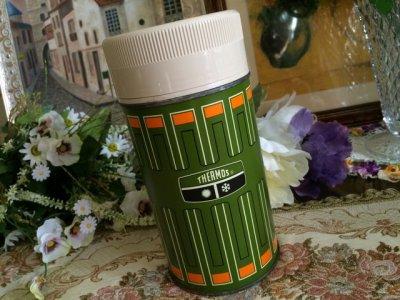 画像1: サーモス ビンテージ魔法瓶水筒 1970年 オリーブグリーン made in USA