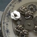 NEW Button Metal Tie Silver (L)