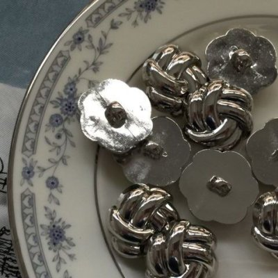 画像1: NEW Button Metal Tie Silver (L)