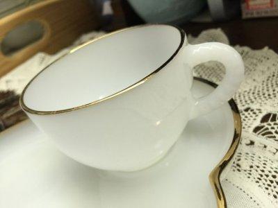 画像2: フェデラル ミルクグラス・スナックセット ゴールド・ハロウ
