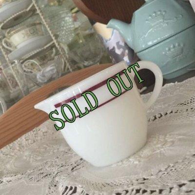 画像1: sold コーニング ミルクグラスレストランウエア レッドバンド・シリーズ クリーマー