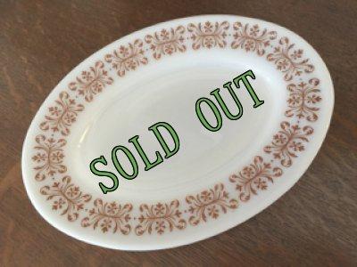画像1: sold パイレックス  ルクグラス カッパーフィルグリー オーバル皿 (M) AS IS