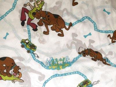 画像2: ビンテージ スクービー・ドゥー( 弱虫クルッパー)ツインサイズ フラットシーツ 1999年