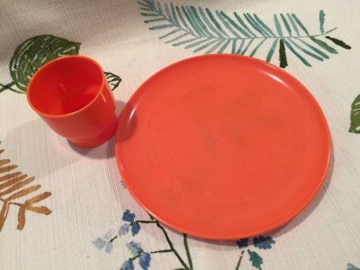 画像2: Vintage Plastic Cup & Dish Orange Set