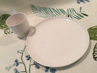 画像2: Vintage Plastic Cup & Dish White Set