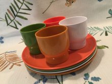 他の写真1: Vintage Plastic Cup & Dish Orange Set