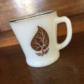 Fire King, Silver Top with Leafs Milk Glass White D-handle Mug