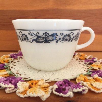 画像1: パイレックス オールドタウンブルー ミルクグラス ぽってりカップ