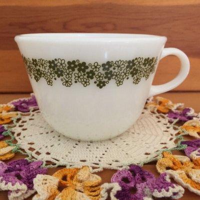 画像1: パイレックス ミルクグラス スプリングブロッサム・クレイジーデイジー ぽってりカップ