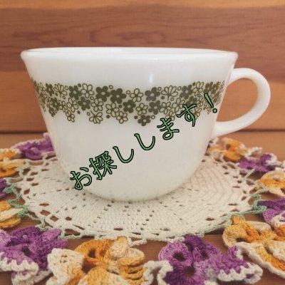 画像1: sold コーニング ミルクグラス スプリングブロッサム・クレイジーデイジー ぽってりカップ