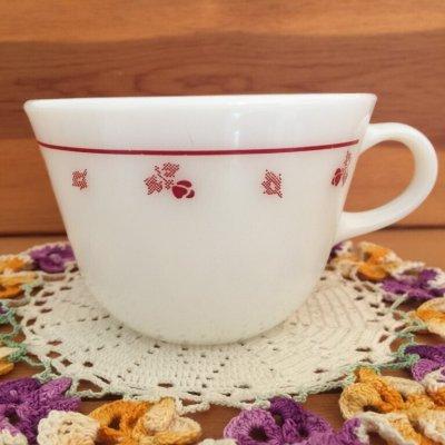 画像1: コーニング ミルクグラス ローズバット ぽってりカップ