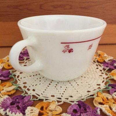 画像2: コーニング ミルクグラス ローズバット ぽってりカップ