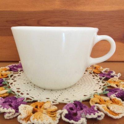画像1: コーニング ミルクグラス ぽってりカップ
