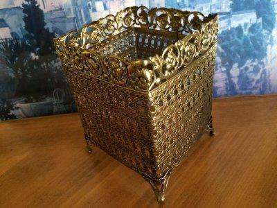 画像2: ビンテージ・ゴールドメタル・フィリグリー ティッシュボックス・カバー