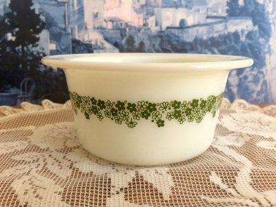 画像1: パイレックス スプリングブロッサム・クレイジーデイジー ミルクグラス バター・タブ・ディッシュ
