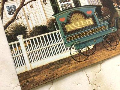 画像2: チャールズ・ワイソッキー(フォークアーティスト)1996年製新品ティンサイン(ブリキ看板)「J acob Amherst Dove牛乳配達人(1988年)」