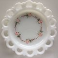 Anchor Hocking, Old Colony, Milk Glass Lace Edge with Pink Flowers Plate